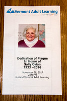 Sally Ovian Dedication * VT Adult Learning * November 28, 2017
